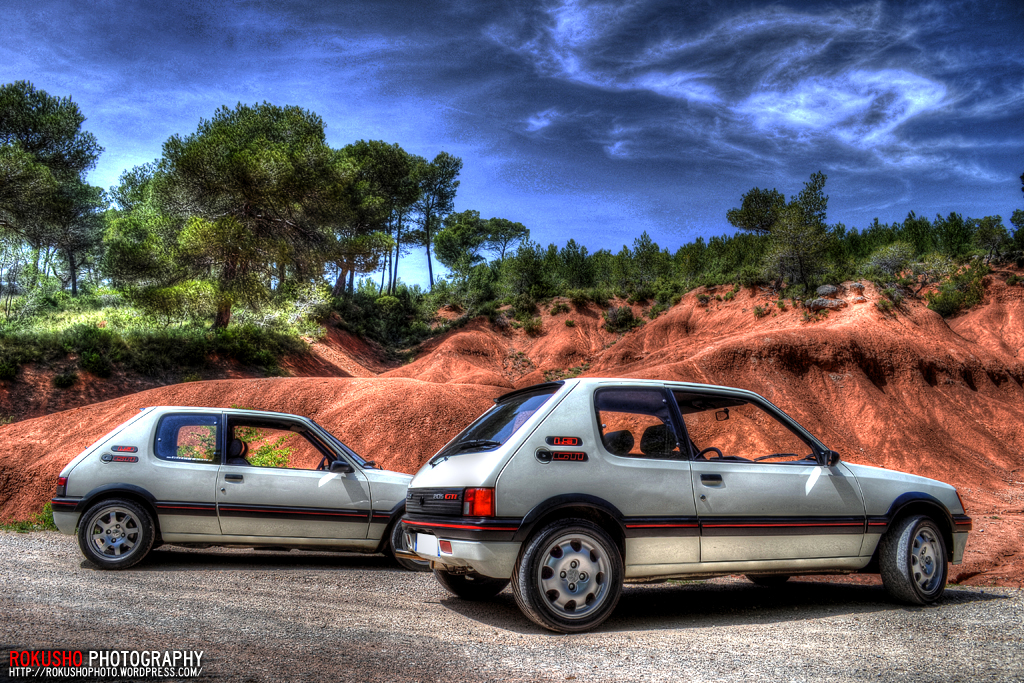 rokusho photo wallpaper fond ecran peugeot 205 gti meeting de voiture nature et paysage. Black Bedroom Furniture Sets. Home Design Ideas